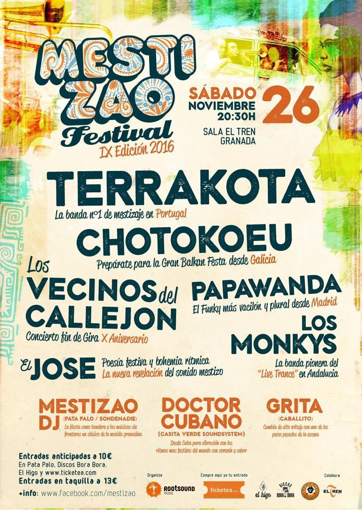 MESTIZAO FESTIVAL: Terrakota, Chotokoeu, Los vecinos del callejón, Papawanda, El Jose, Los Monkys (Sala Tren Granada)